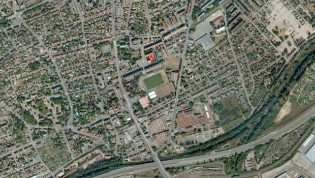 Vue aérienne de Mulhouse, avec le quartier de Bourtzwiller