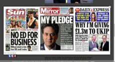 Elections en Grande-Bretagne : Miliband ou Cameron, la presse britannique divisée