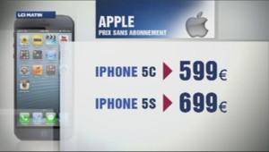 Les prix de l'Iphone 5S et l'Iphone 5C d'Apple.