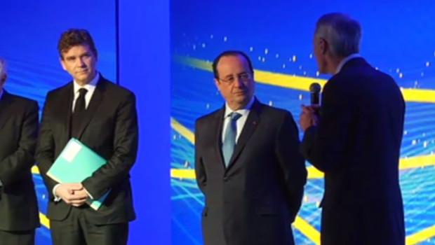 François Hollande accompagné d'Arnaud Montebourg en Auvergne, le 18 avril 2014