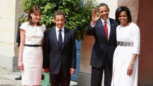 Les deux couples présidentiels à Caen, le 6 juin 2009