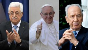 Mahmoud Abbas (Autorité palestinienne), le pape François et Shimon Peres (Israël)