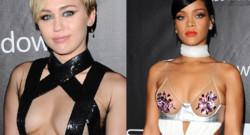 Miley Cyrus et Rihanna au gala de l'amfAR à Los Angeles le 29 octobre 2014.