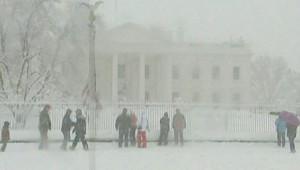 La Maison Blanche vue à travers une tempête de neige (5 février 2010)