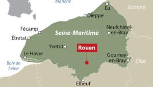 Carte de localisation de Rouen en Seine-Maritime