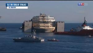 Le 13 heures du 23 juillet 2014 : Le Concordia quitte l%u2019� de Giglio, deux ans et demi apr�son naufrage - 476.512