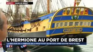 """L'Hermione à Brest : """"La manoeuvre d'accostage s'est déroulée à la perfection"""""""