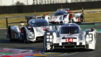 La Porsche 919 Hybrid #14 de à Romain Dumas, Neel Jani et Marc Lieb aux Qualifications des 24h du Mans le 12 juin 2014