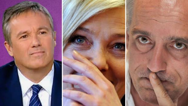 Nicolas Dupont-Aignan, Marine Le Pen et Philippe Poutou.