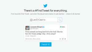 Capture d'écran du service #FirstTweet.