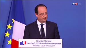 """Le 20 heures du 6 mars 2014 : Hollande : une tentation de s�ratisme """"ne peut pas �e conforme au droit international"""" - 411.919"""