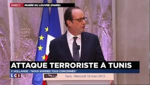"""François Hollande : """"Les terroristes s'attaquent à l'Histoire comme aux personnes"""""""