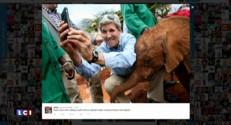 """John Kerry invente le """"Elfie"""" ... des photos avec des éléphanteaux"""
