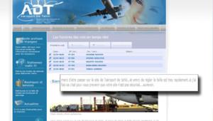 Site internet de l'aéroport de Tahiti, avec un message après une opération de hackers (24 avril 2012)