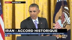 """Accord sur le nucléaire iranien : pour Obama, """"il y a deux options, la négociation ou la force"""""""