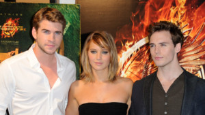 Jennifer Lawrence, Liam Hemsworth, Sam Claflin, prsentent Hunger Games 2  Cannes, le 18 mai 2013.