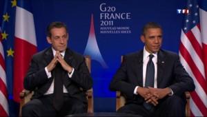 Nicolas Sarkozy et Barack Obama, sur TF1, le 4/11/11
