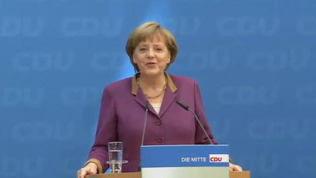 Angela Merkel donne une conférence de presse à Berlin, le 14/5/12