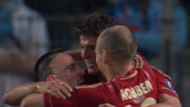 Ribéry, Gomez et Robben, les trois joueurs du Bayern Munich, célèbrent le but du second face à l'OM, en quarts de finale de la Ligue des champions le 28 mars 2012.