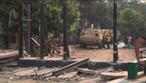 Les restes du mur protégéant l'ambassade d'Israël en Egypte.