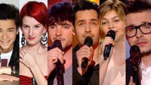 """Sacha, Stéphanie, Louis, Yoann, Louane et Olympe, anciens talents des saisons 1 et 2 de """"The Voice""""."""