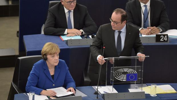 Angela Merkel François Hollande Parlement européen