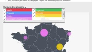 La carte des tweets des municipales, ville par ville et candidat par candidat.