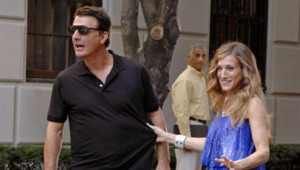 Sarah Jessica Parker et Chris Noth sur le tournage de sex and the city 2 à New York