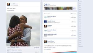 La photo de Barack Obama et sa femme Michelle enlacés que l'équipe du démocrate a postée sur Facebook au moment d'annoncer sa victoire (le 7 novembre 2012)