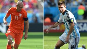 Arjen Robben et Lionel Messi s'affrontent en demi-finales du Mondial 2014, le 9 juillet 2014 à Sao Paulo.