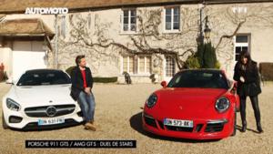 Les Mercedes-AMG GT S et Porsche 911 Carrera GTS dans l'émission Automoto du dimanche 1er mars 2015 présentée par Marion Jollès Grosjean et Jean-Pierre Gagick