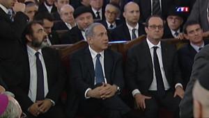 Le 20 heures du 11 janvier 2015 : Marche républicaine : Hollande et Netanyahou à la Grande synagogue de Paris - 2682.857