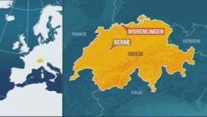 Carte de localisation de Würenlingen, en Suisse.