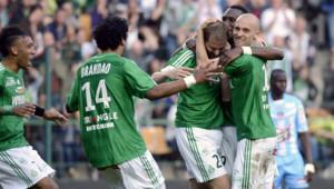 Les joueurs de Saint-Etienne lors de la victoire face à l'AC Ajaccio (4-2), le 24 avril 2013.