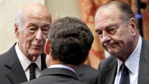 Nicolas Sarkozy, Jacques Chirac et Valéry Giscard-D'estaing en 2010.