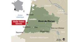Carte de localisation de Vielle-Saint-Girons, dans les Landes.