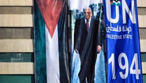 Ramallah capitale de l'Autorité palestinienne : affiche pour l'accession d'un Etat palestinien à l'Onu, 22/9/11