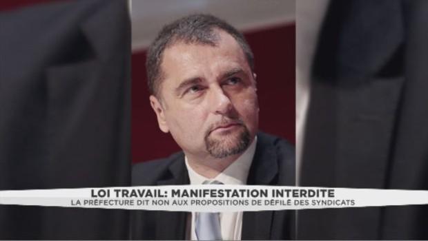 Nicolas Comte, secrétaire général adjoint Unité SGP Police FO, s'exprime après l'interdiction de la manifestation anti-loi Travail