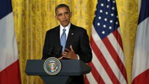 Barack Obama lors du point presse avec François Hollande à la Maison-Blanche. (11/02/2014)