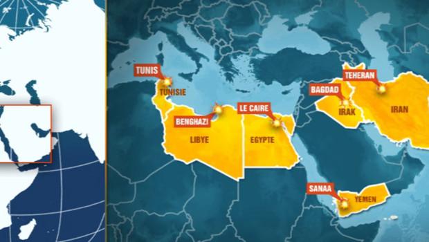 Pays dans lesquels ont eu lieu des heurs et des rassemblements suite au film anti-islam.