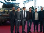 Brad Pitt et l'équipe de Fury présentent le film de David Ayers le 18 octobre 2014 à l'Hôtel des Invalides à Paris.