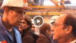 Hollande et un syndicaliste CGT
