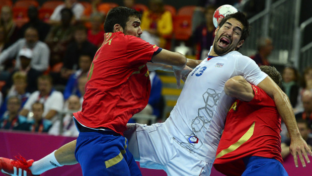 Nikola Karabatic durant le quart de finale de handball France - Espagne aux JO de Londres le 8 août 2012.