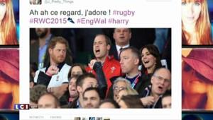 Le regard noir de Harry dans les tribunes Twickenham