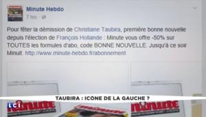 """""""Pot de départ de Taubira"""" : les opposants au """"mariage pour tous"""" célèbrent le départ de la garde des Sceaux"""