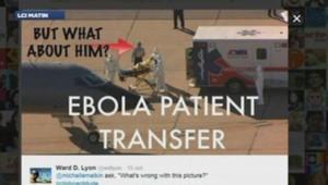 Homme sur le tarmac avec un patient atteint d'Ebola