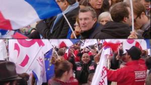 Les militants de Sarkozy à la Concorde (en haut) et ceux de François Hollande (en bas).