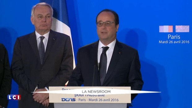 """Hollande fier de la vente de sous-marins à l'Australie : """"Vous êtes les meilleurs"""""""