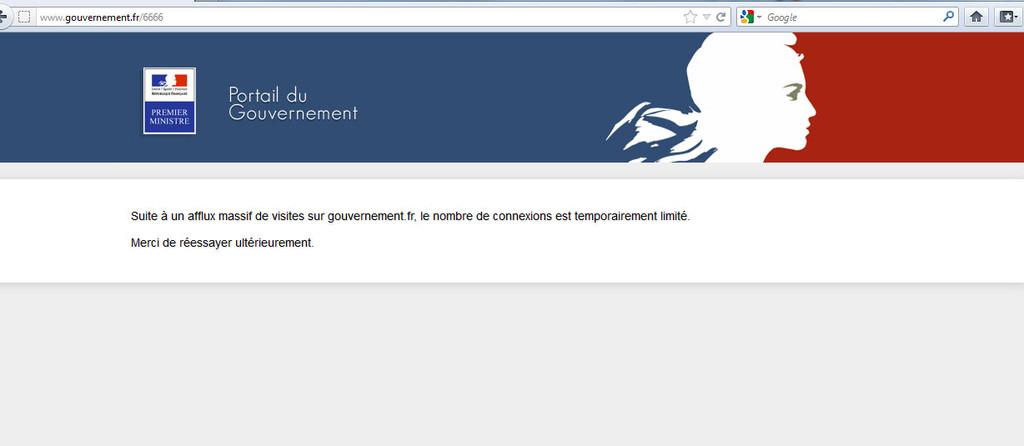 Le site internet du gouvernement était inaccessible, le 15 avril 2013 à17h, heure où devaient être publiées les déclarations de patrimoine des ministres.