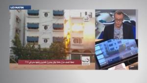 Explosion d'un immeuble à Gaza.